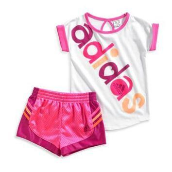 adidas? Short Sleeve Top and Short Set in White/Pink