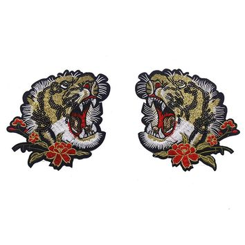 1pair Beaded Sequin Tiger Head Embroidery Iron on Applique Patches Lace Fabric P