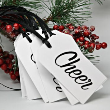 CHEER Christmas Tags Set of 12 Holiday Tags / Holiday Gift Wrap / Christmas Gift Tags
