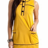 buttoned contrast dress $26.50 in BLACK IVORY MUSTARD RED - Casual | GoJane.com