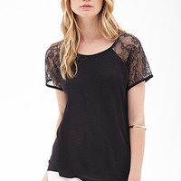 FOREVER 21 Lace Paneled Knit Tee