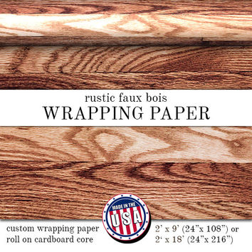 Rustic Faux Bois Custom Wrapping Paper Wood Grain Print | Custom Wrapping Paper In Two Sizes Great For Any Occasion. Made In The USA