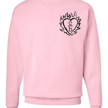 "One Tree Hill OTH ""Clothes Over Bros / C over B Heart Logo in Corner""Crew Neck Sweatshirt"