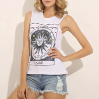Astrolabium Print Sleeveless Graphic Tank