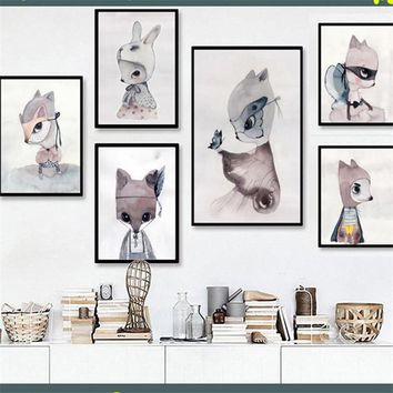 Home Decor Nordic Canvas Painting Wall Art DIY Rabbit Fox Mrs Women Animal Abstract Print Kid Girl Bedroom Hotel Backdrop Supply