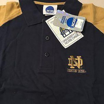 NOTRE DAME IRISH EMBROIDERED NCAA POLO NAVY/GOLD GOLF SHIRT SHIPPING
