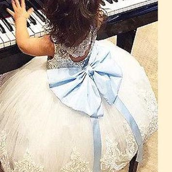 Party Formal Bridesmaid Ball Cute Girls Dress New Arriving Baby Kids Girl Clothing Dresses Bowknot Lace Floral XMAS