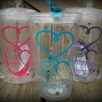 Personalized Respiratory Therapist Tumbler,  Heart and Stethoscope Custom Tumbler, Personalized Nurse Cup,  LPN Tumbler, Doctor Cup, Medical