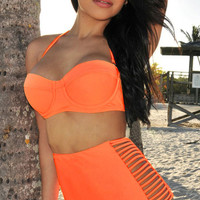 Solid Retro High Waist Bikini Set
