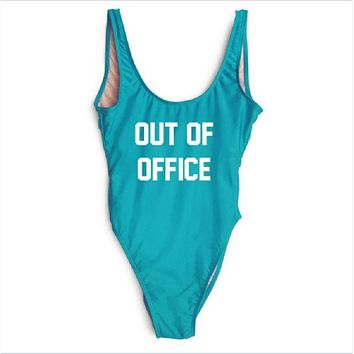 DCCKJ1A [OUT OF OFFICE] letter printing one-piece swimsuit bikini vest shorts