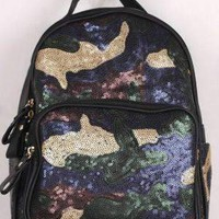 Sequin Camouflage Pattern Mini Backpack