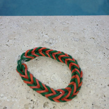 Fishtail Rainbow loom Orange and Green Bracelet Rainbow Loom Bracelet Rainbow Loom Accessories Lanyard Gifts for her Gifts for Him Zipp