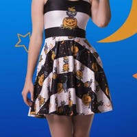 Dark Blue Floral Pumpkin Print Draped Round Neck Halloween Cute Mini Dress