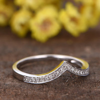 Small Diamond Wedding Band 14k White Gold Anniversary Ring Curved Chevron V Matching Pave Set