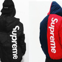 SUPREME street tide brand men and women fight color letters embroidery thicker cotton jacket jacket Red