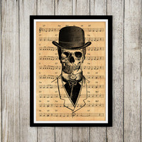 Music notes print Skeleton poster Vintage art Old paper print NP080
