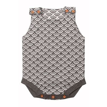 Grey Fish Scale Knit Buttoned Baby Romper