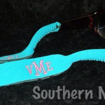 Monogrammed Personalized Sunglasses Croakies  - Sunglass Strap 12 Colors to choose from. Great Bridesmaid Gift