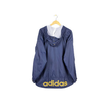 90s ADIDAS windbreaker jacket / vintage 1990s / parka / navy blue + yellow / text logo / mens large
