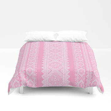 Ukrainian embroidery heavenly pink Duvet Cover by exobiology