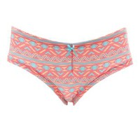 Coral Tribal Print Cinched Boyshort Panties by Charlotte Russe