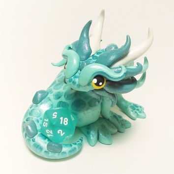 Polymer Clay Dragon Dice Holder- Mint Green, Sea Foam Green, and White Dragonling: Julep