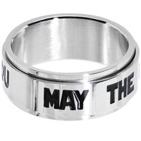 Licensed Steel Star Wars May the Force Spinner Ring