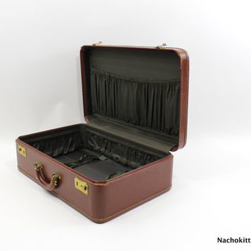 1940s Leather Suitcase with Cloth Zippered Cover, Brass Details