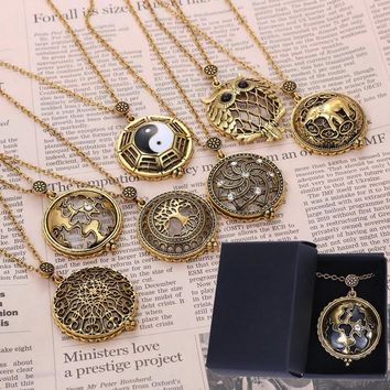 5 times Vintage Magnifying Glass Pendant Necklace World Map Tai Chi Owl Life Tree Elephant Pocket Watch Time collar collier