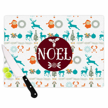 "Famenxt ""Noel"" Blue White Digital Cutting Board"