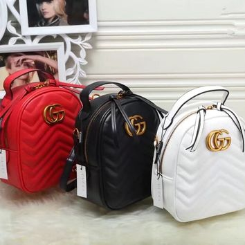 """Gucci"" Women Fashion Double G Letter Quilted Mini Backpack Single Shoulder Messenger Bag Double Shoulder Bag"