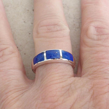 Lapis Lazuli Ring Sterling Silver Inlay Size 8 Vintage V0198