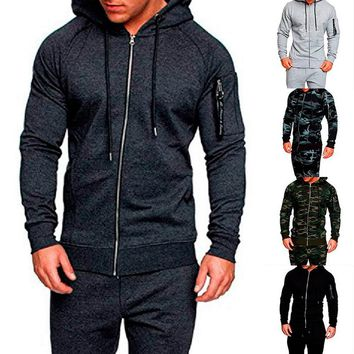 CALOFE 2018 Autumn Running Jacket Coats Camo Solid Slim Fitness Men Hoodie Soild Jacket Male Camouflage Tactical Clothing Men's