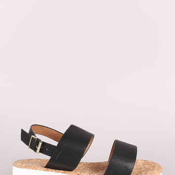 Qupid Double Band Slingback Low Wedge Sandal