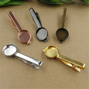 10 PCS To Fit 16MM Round Cabochon Copper Necktie Tie Bar Mens Clamp Tie Clip Blank Base For Men Accessories cy1184