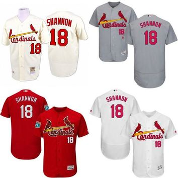 white grey red Cream 1964 Throwback Mike Shannon Authentic Jersey , Men's #18 Mitchell And Ness St. Louis Cardinals