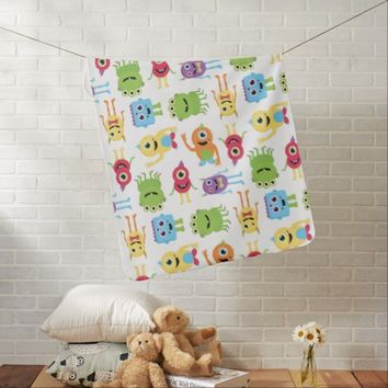 Cute Little Monsters Pattern Stroller Blanket