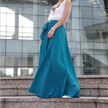 Plus Size Maxi Skirt Chiffon Silk Skirts Beautiful Bow Tie Green Elastic Waist Summer Skirt Floor Length Long Skirt (037),# 30