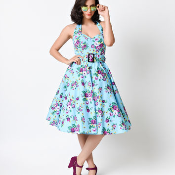 Hell Bunny Vintage Blue Rose Floral May Day Halter Swing Dress