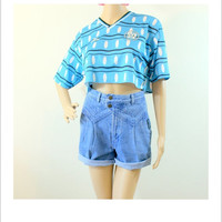 ON Sale Vintage high-waisted shorts/Rocky Mountain jean shorts/ blue high rise woman shorts/cut off denim shorts