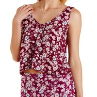 Burgundy Cmb Floral Print Swing Crop Top by Charlotte Russe