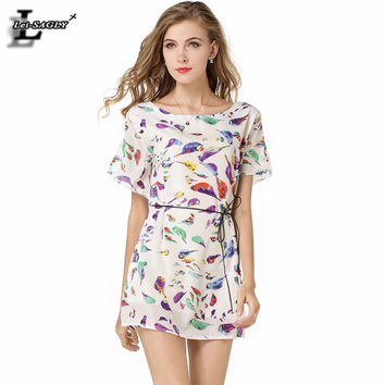 Europe Bird Print Chiffon Dress Fashion Short-Sleeved Harajuku Kawaii Ukraine Elegant Ladies Dresses Casual Women Clothing 1137
