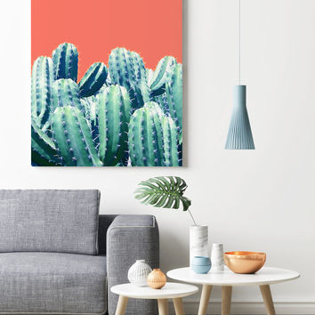 Cactus on Coral #society6 #decor #buyart by 83 Oranges®