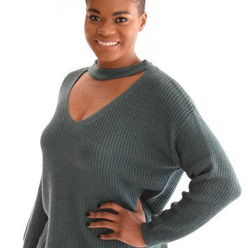 Harvest Moon Teal Cutout Sweater