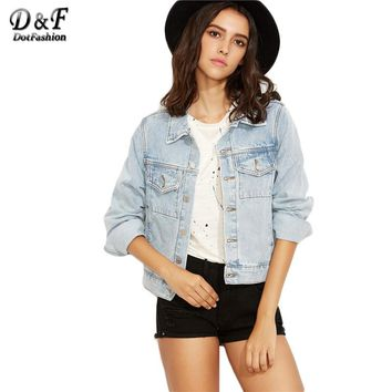 Light Blue Button Front Single Breasted Denim Coat Classic Style Ladies Lapel Long Sleeve Jacket