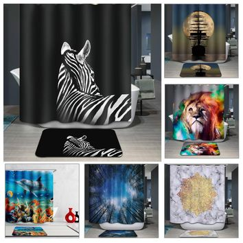 Bathroom Products 180*180CM 3D Shower Curtains Animal Digital Printed Waterproof Washable Bathroom Curtains Home Decoration