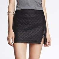 QUILTED ZIP FRONT MINI SKIRT