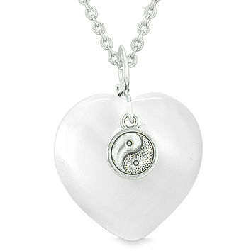 Yin Yang Balance Powers Puffy Magic Heart Amulet White Simulated Cats Eye Pendant 18 inch Necklace