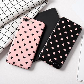 Cute love heart painted case For iphone 7 7plus girl style soft silicon case for iphone 6 6s 8 8plus 6splus protective case