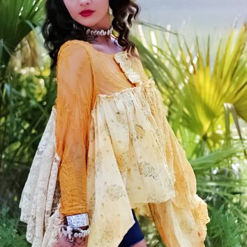 Fashion lover yellow poncho, hippie chic shirt
